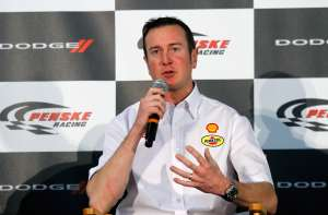 Kurt Busch, driver of the No. 22 Shell/Pennzoil Dodge, speaks to the media during the NASCAR Sprint Media Tour hosted by Charlotte Motor Speedway, held at Penske Racing on Monday in Mooresville, N.C. - Photo Credit: Jason Smith/Getty Images for NASCAR